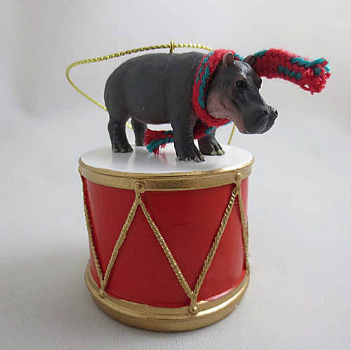 Little Drummer Hippopotamus Christmas Ornament