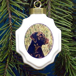 Chocolate Lab Christmas Ornament Porcelain