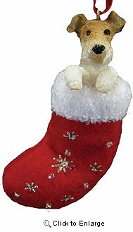 Wire Fox Terrier Christmas Stocking Ornament