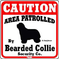 Bearded Collie Caution Sign