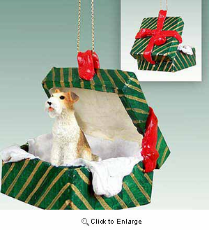 Wire Fox Terrier Gift Box Christmas Ornament Red
