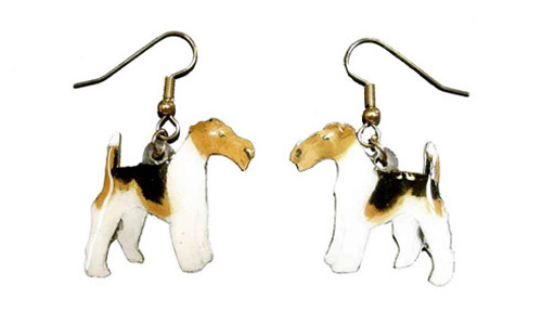 Wire Fox Terrier Earrings Hand Painted Acrylic