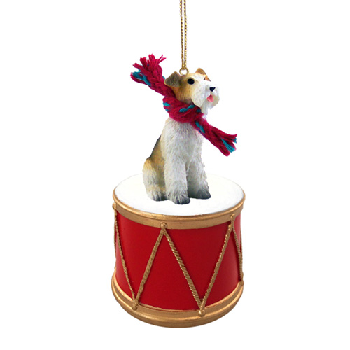 Little Drummer Wire Fox Terrier Christmas Ornament