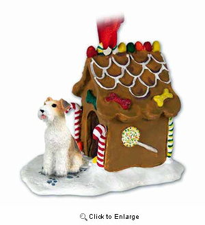 Wire Fox Terrier Gingerbread House Christmas Ornament Red