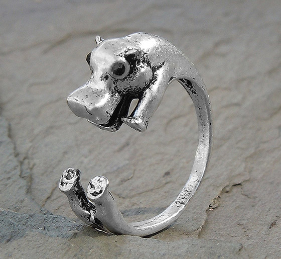 Adjustable Wrap Hippopotamus Ring