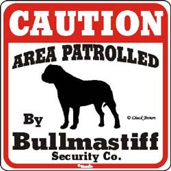Bullmastiff Caution Sign