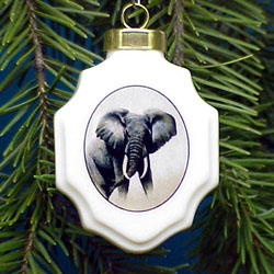 Elephant Christmas Ornament Porcelain