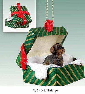 Wire Haired Dachshund Gift Box Christmas Ornament Red