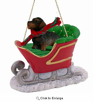 Wire Haired Dachshund Sleigh Ride Christmas Ornament Red