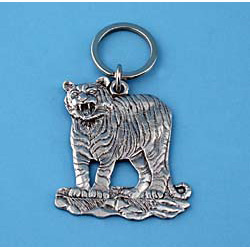 Tiger Pewter Keychain