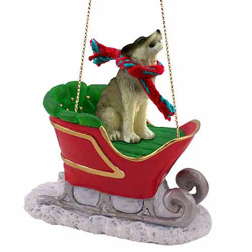 Timber Wolf Sleigh Ride Christmas Ornament