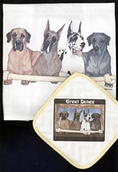 Great Dane Dish Towel & Potholder