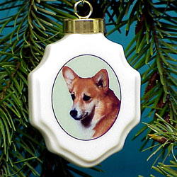 Corgi Christmas Ornament Porcelain