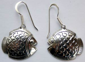 Fish Earrings Sterling Silver Hand Crafted