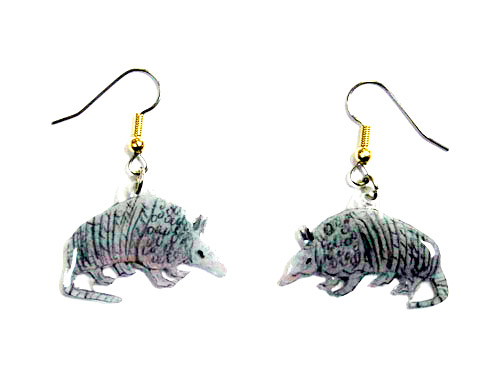 Armadillo Earrings Hand Painted Acrylic