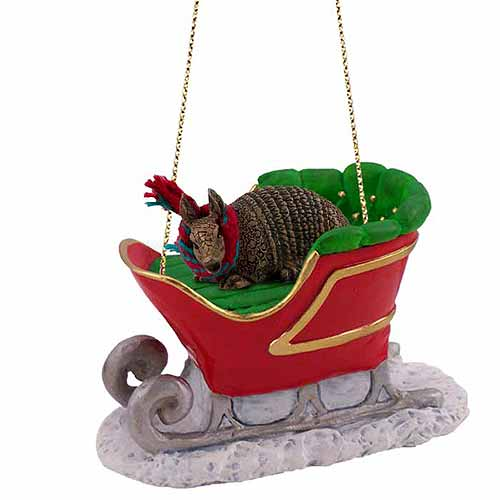 Armadillo Sleigh Ride Christmas Ornament