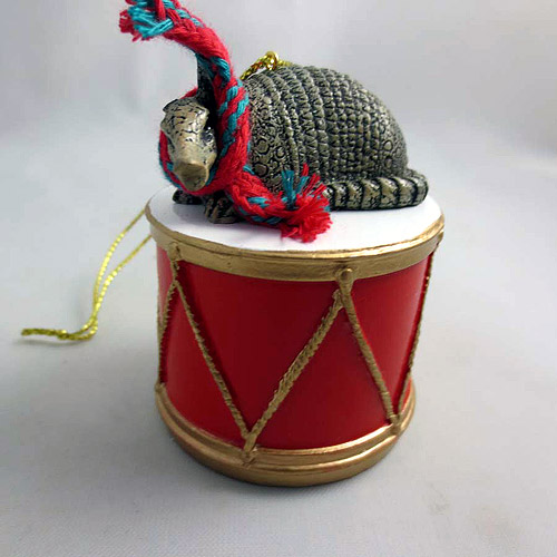 Little Drummer Armadillo Christmas Ornament