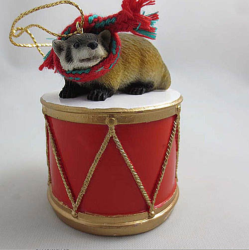 Little Drummer Badger Christmas Ornament