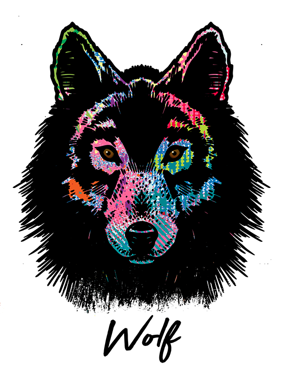 Wolf T Shirt Colorful Abstract
