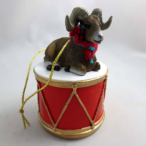 Little Drummer Big Horn Sheep Christmas Ornament