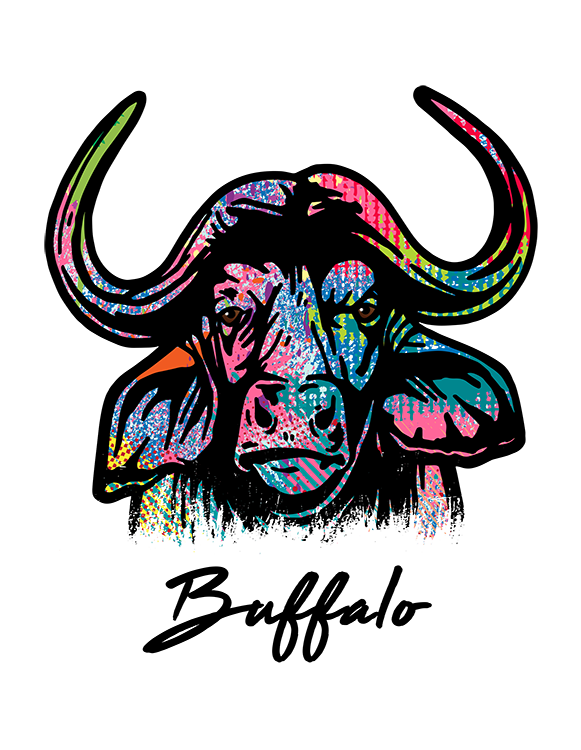 Buffalo T Shirt Colorful Abstract