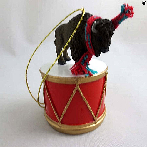 Little Drummer Buffalo Christmas Ornament