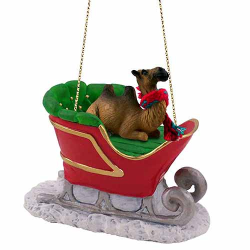 Camel Sleigh Ride Christmas Ornament Bactrian
