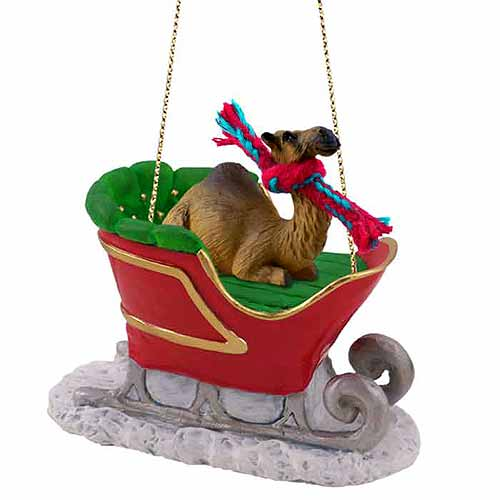Camel Sleigh Ride Christmas Ornament Dromedary