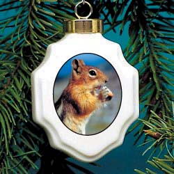 Chipmunk Christmas Ornament Porcelain