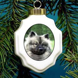Keeshond Christmas Ornament Porcelain
