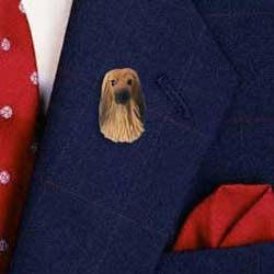Afghan Hound Pin Hand Painted Resin