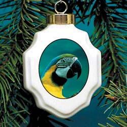 Macaw Parrot Christmas Ornament Porcelain