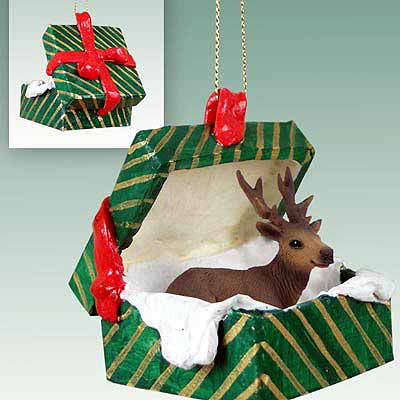 Elk Gift Box Christmas Ornament Bull