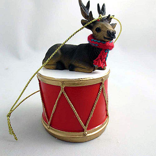 Little Drummer Bull Elk Christmas Ornament Bull