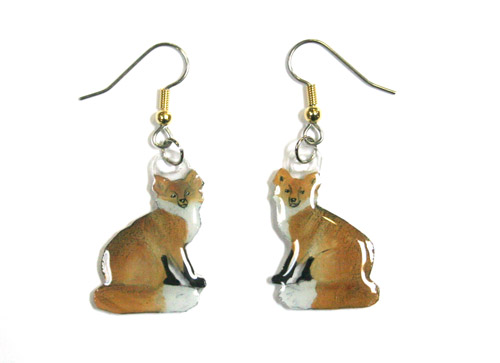 Fox Earrings Red Hand Painted Acrylic