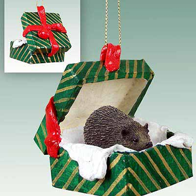 Hedgehog Gift Box Christmas Ornament