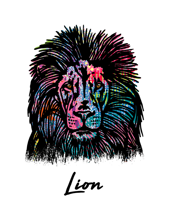 Lion T Shirt Colorful Abstract