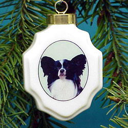 Papillon Christmas Ornament Porcelain
