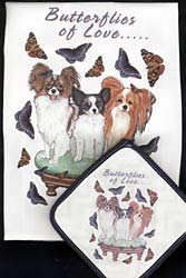 Papillon Dish Towel & Potholder