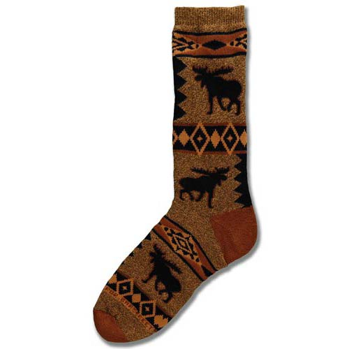 Moose Blanket Motif Socks