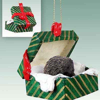 Porcupine Gift Box Christmas Ornament