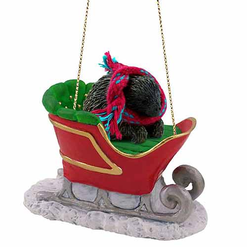 Porcupine Sleigh Ride Christmas Ornament