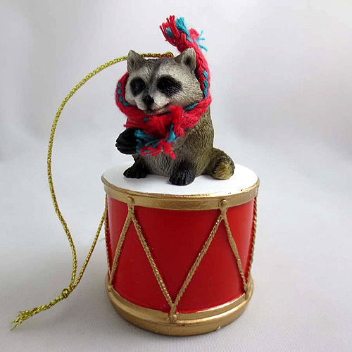 Little Drummer Raccoon Christmas Ornament