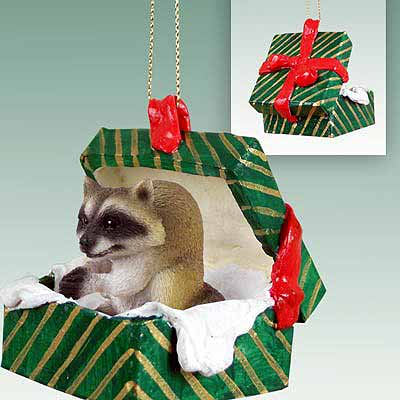 Raccoon Gift Box Christmas Ornament