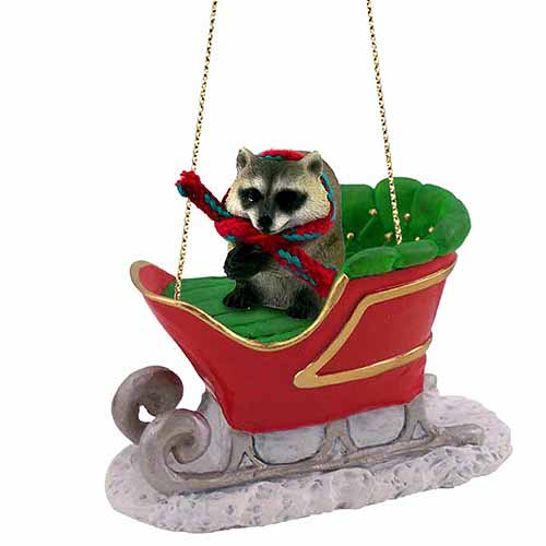 Raccoon Sleigh Ride Christmas Ornament