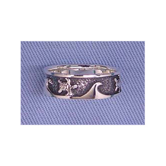 Banded Sterling Silver Sea Turtle Ring