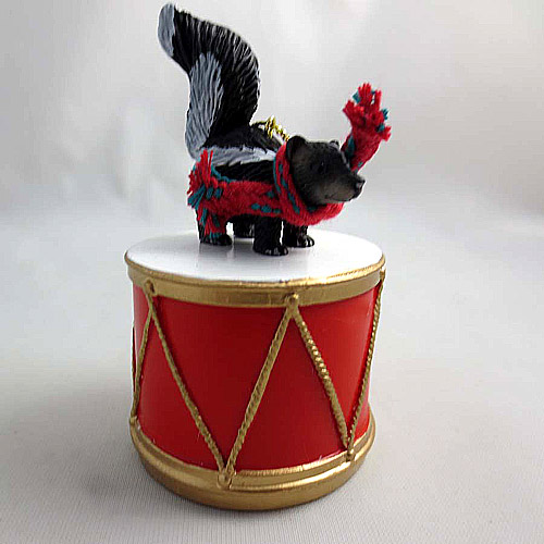 Little Drummer Skunk Christmas Ornament