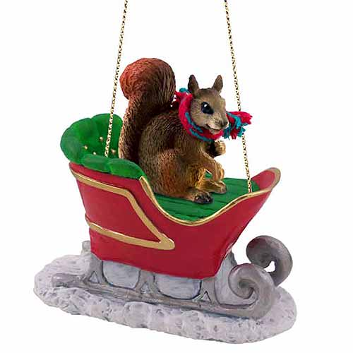 Squirrel Sleigh Ride Christmas Ornament Red