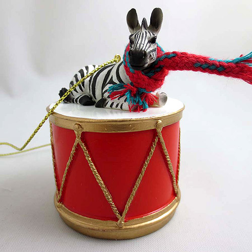 Little Drummer Zebra Christmas Ornament