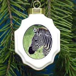 Zebra Christmas Ornament Porcelain